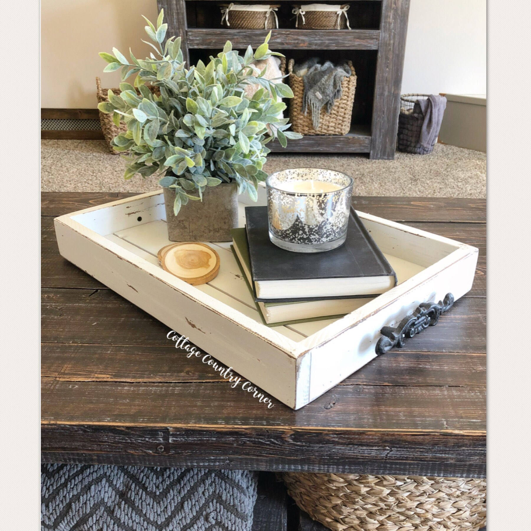 14x20 Wooden Decorative Tray With Metal Handles \u2013 Cottage
