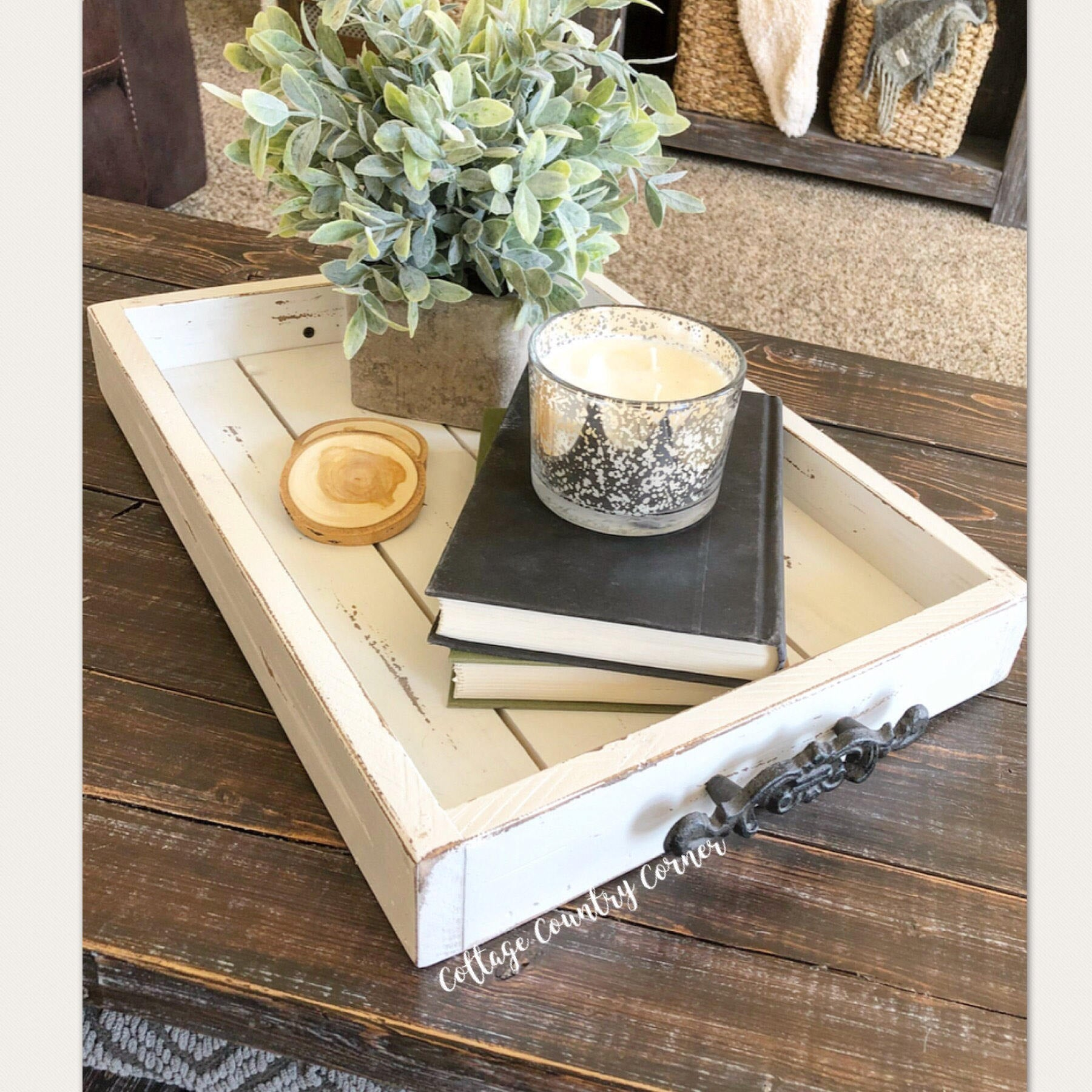 14 x 20 Magazine Tray - Coffee Table Tray - Magazine Tray - Coffee Table Tray - Rustic wooden ottoman tray - decorative tray - coffee table