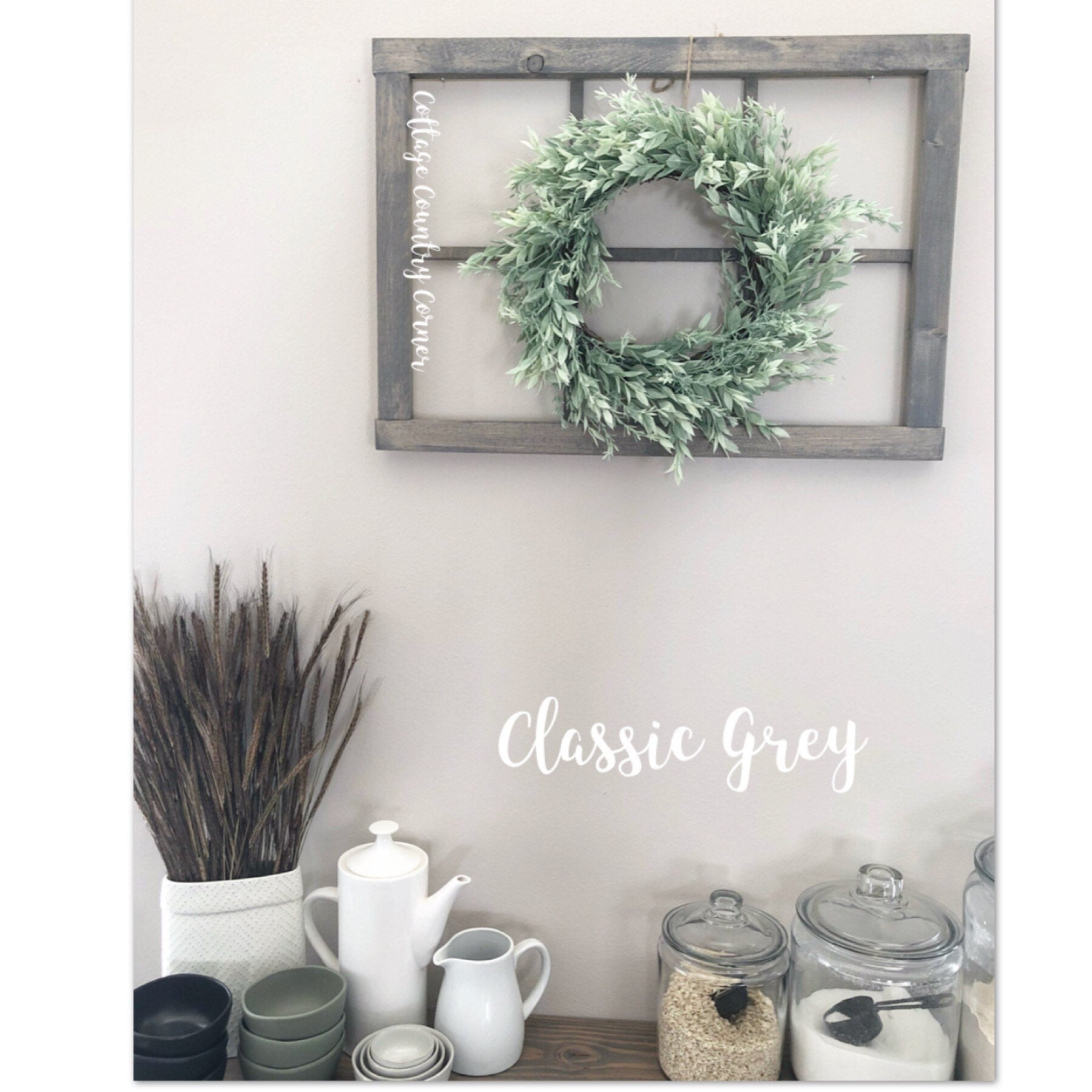 "Window Frame 25"" x 18"" - Window Frame Wall Decor - Farmhouse Decor - Modern Farmhouse Decor - 6 Pane Faux Window Frame - Rustic Window"