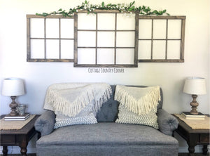 Window Frame Wall Vignette - Window Frame Wall Decor - Farmhouse Decor - Faux Window Frame - Window - Rustic Window - Antique Window Frame