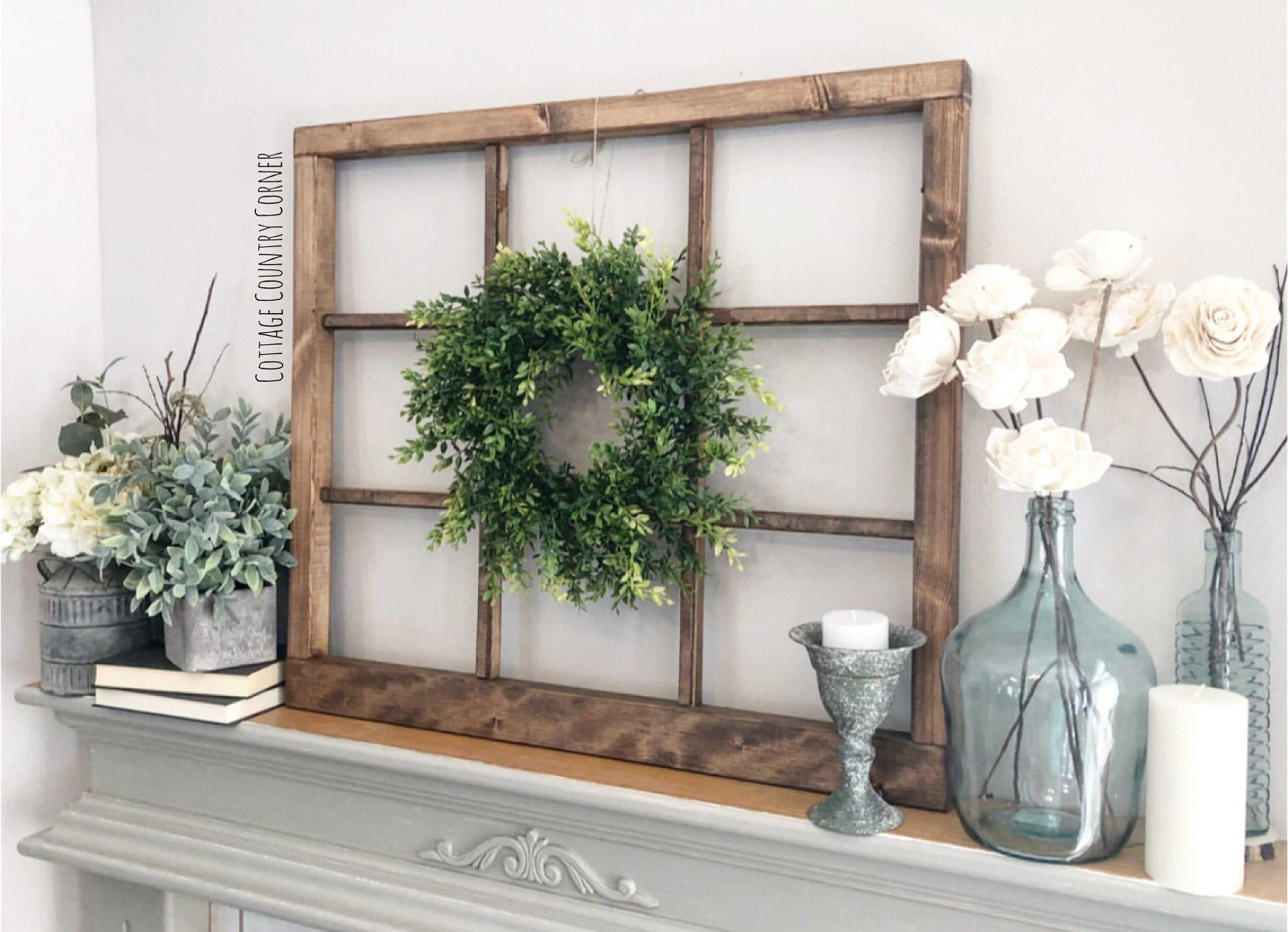 "Window Frame 32"" x 28"" - Heavy Duty Window Frame Wall Decor - Farmhouse Decor - 9 Pane Faux Window Frame - Window - Rustic Window"