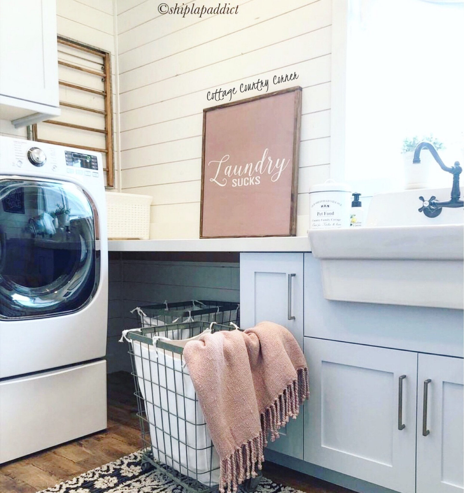Laundry Sign 32x26 - Laundry Sucks Sign - Laundry Room Sign, Laundry Sign, Laundry Room Decor, Laundry Room Art, Farmhouse Style Sign