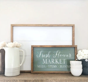 Fresh Flower Market Sign - Fresh Flowers Sign - Farmhouse Wood Sign - Farmhouse Wall Decor - Wood Farmhouse Sign - Farmhouse Wood Wall Decor