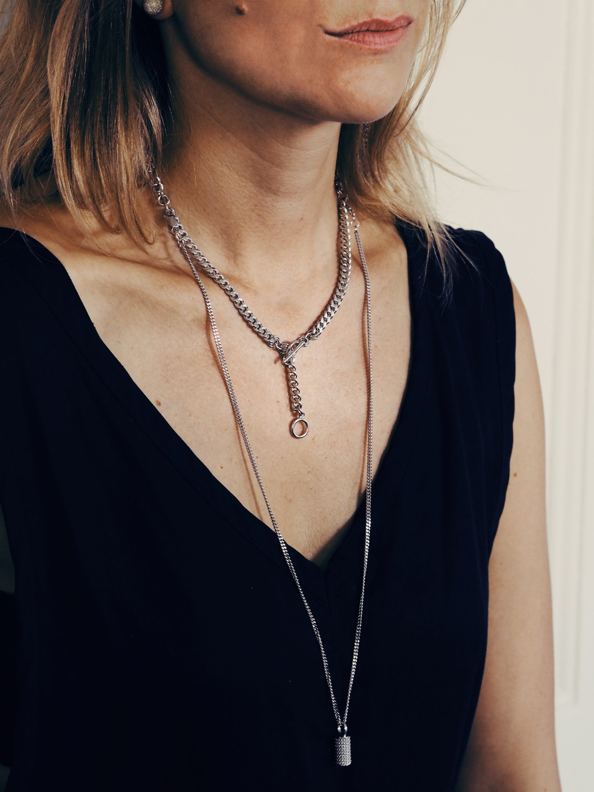 CLYDE necklace - Rhodium