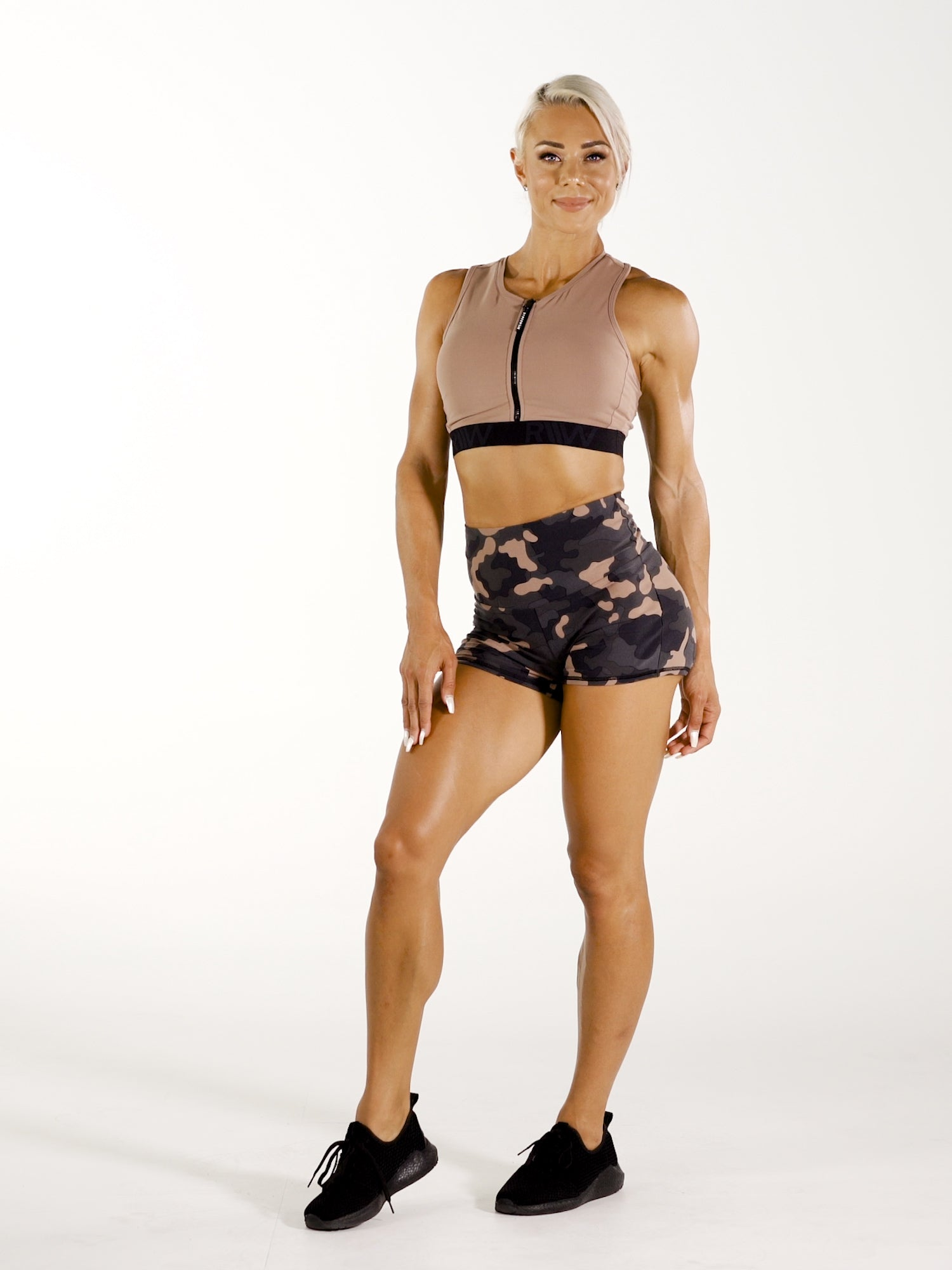 Camo Zip Up Sports Bra - Rose Taupe video