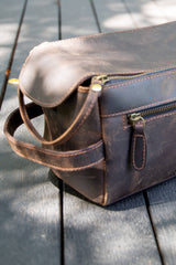 Large Dark Tan Leather Toiletry Bag - Aurelius Leather