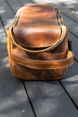 Large Tan Leather Toiletry Bag - Aurelius Leather