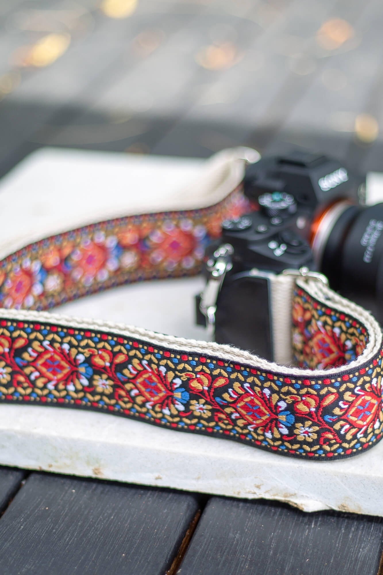 Vintage Red Jacquard Weave Strap - Aurelius Leather