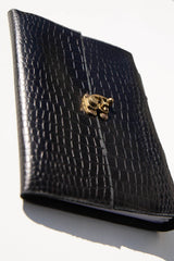 Vintage Black Croc Leather Journal - Aurelius Leather