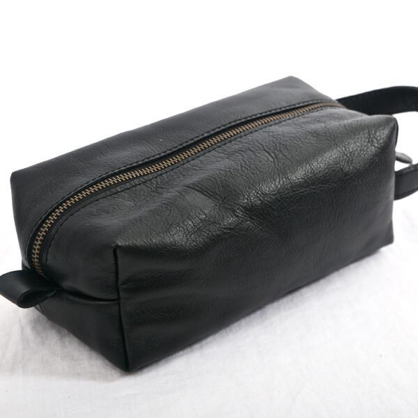 Toiletry Bag Black Leather - Aurelius Leather