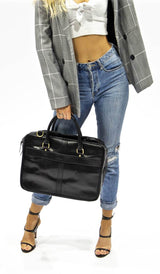 Carter Jet Black Leather Laptop Bag - Aurelius Leather