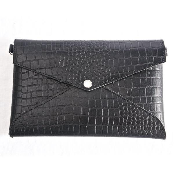 Vintage Black Croc Clutch Mens - Aurelius Leather