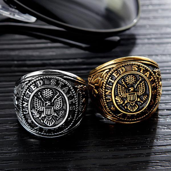 USA Army Ring Silver - Aurelius Leather