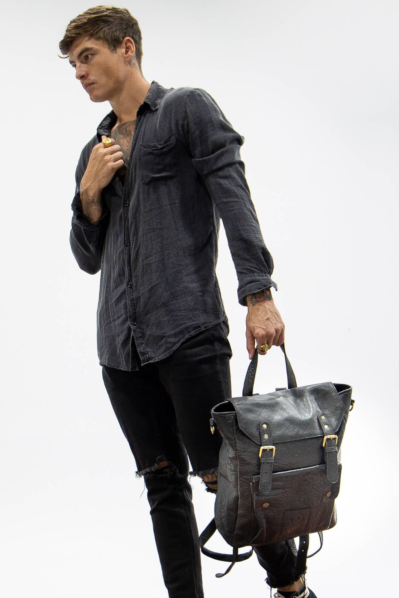 Marley Black Leather Backpack - Aurelius Leather