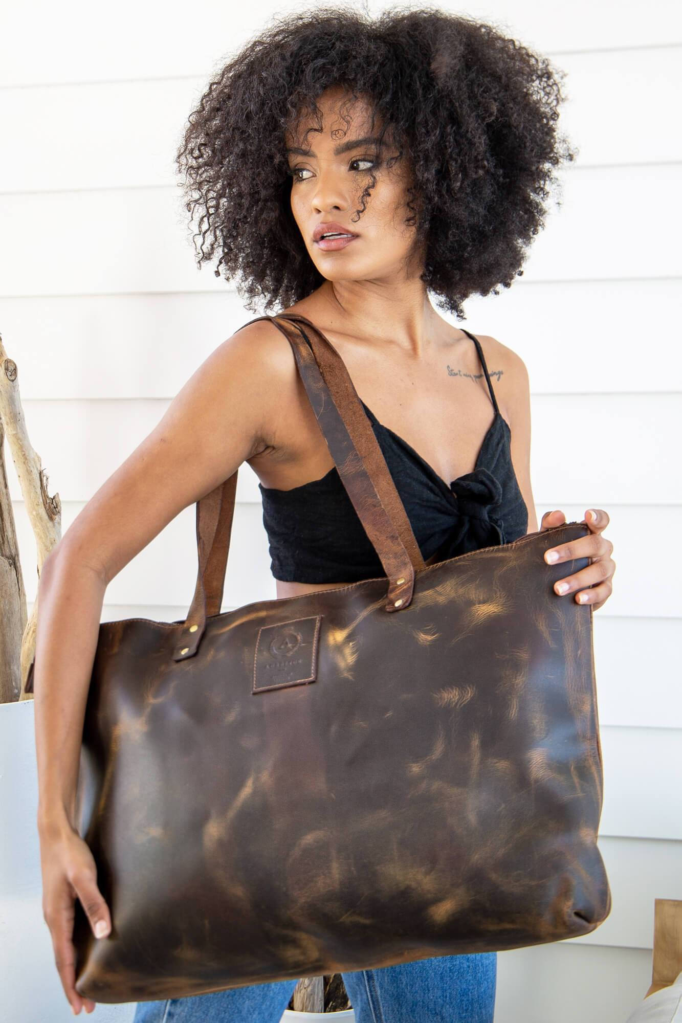 Frida Leather Tote Bag - Aurelius Leather