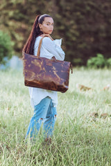 Lucia Antique Brown Hard Wax Tote Bag - Aurelius Leather