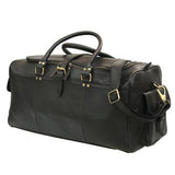 Leather Sheldon Jet Black Weekend Bag - Aurelius Leather