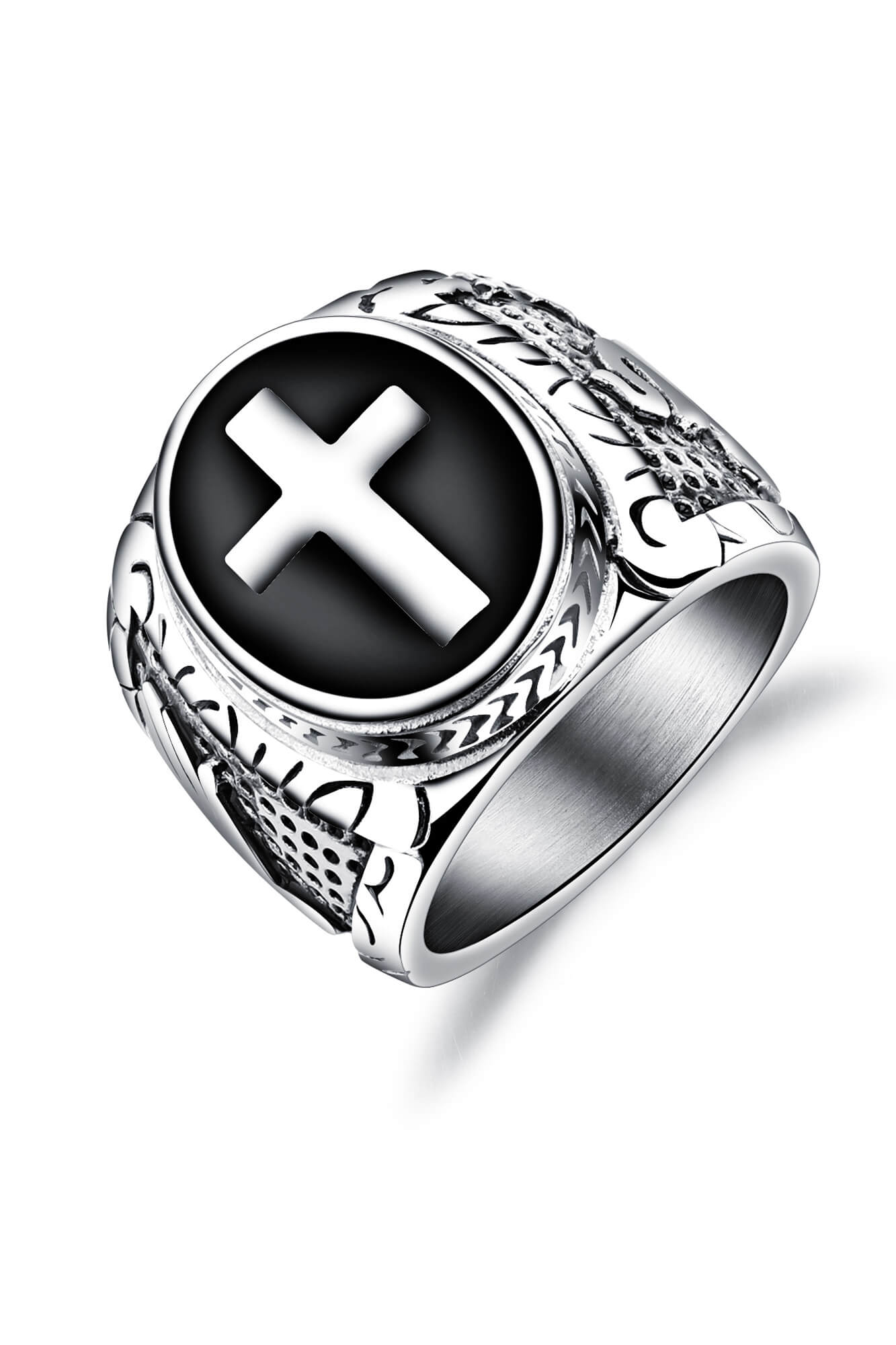 U - Silver Cross Ring - Aurelius Leather