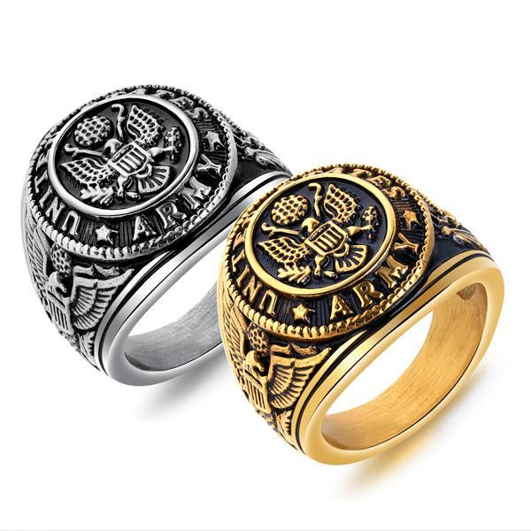 USA Army Ring Gold - Aurelius Leather