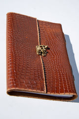 Vintage Tan Croc Leather Journal - Aurelius Leather