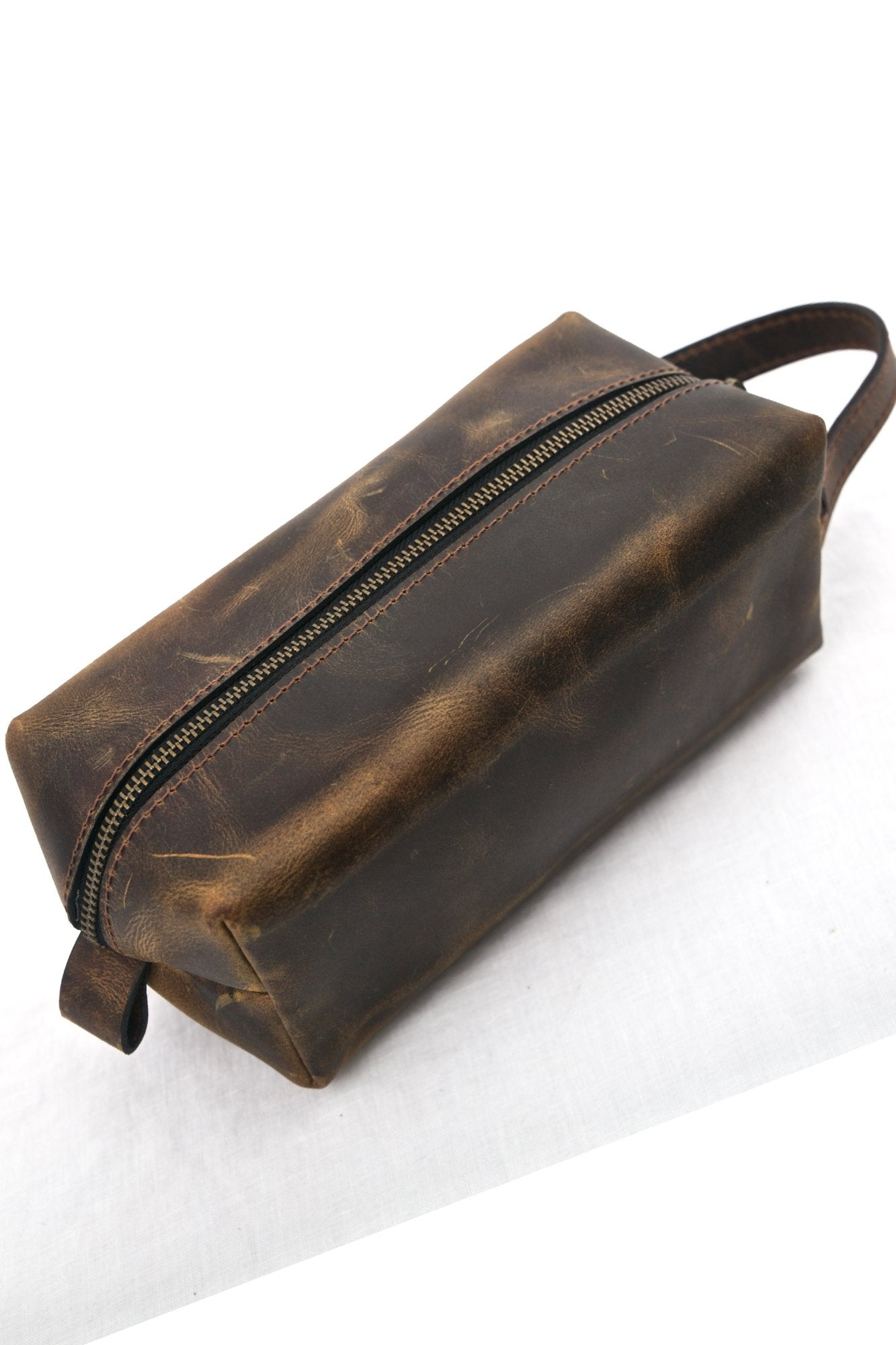Tan Leather Toiletry Bag - Aurelius Leather