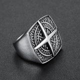 U - Union Cross Silver Ring - Aurelius Leather