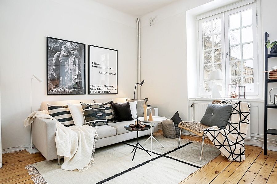 Scandinavian minimalist and contemporary styled living room