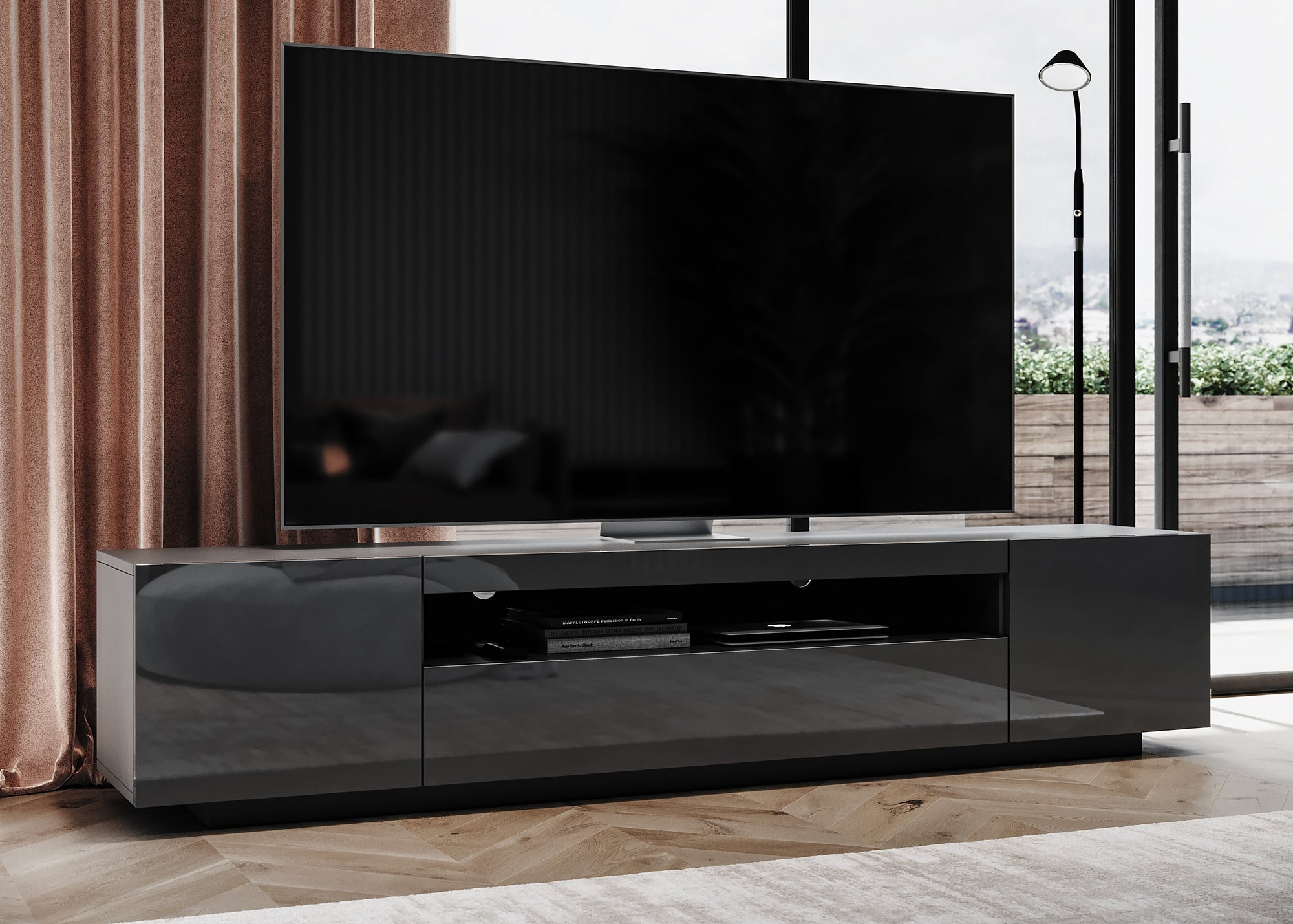 TV Stand SAMSO in Dark Grey, modern designs, nordic inspired