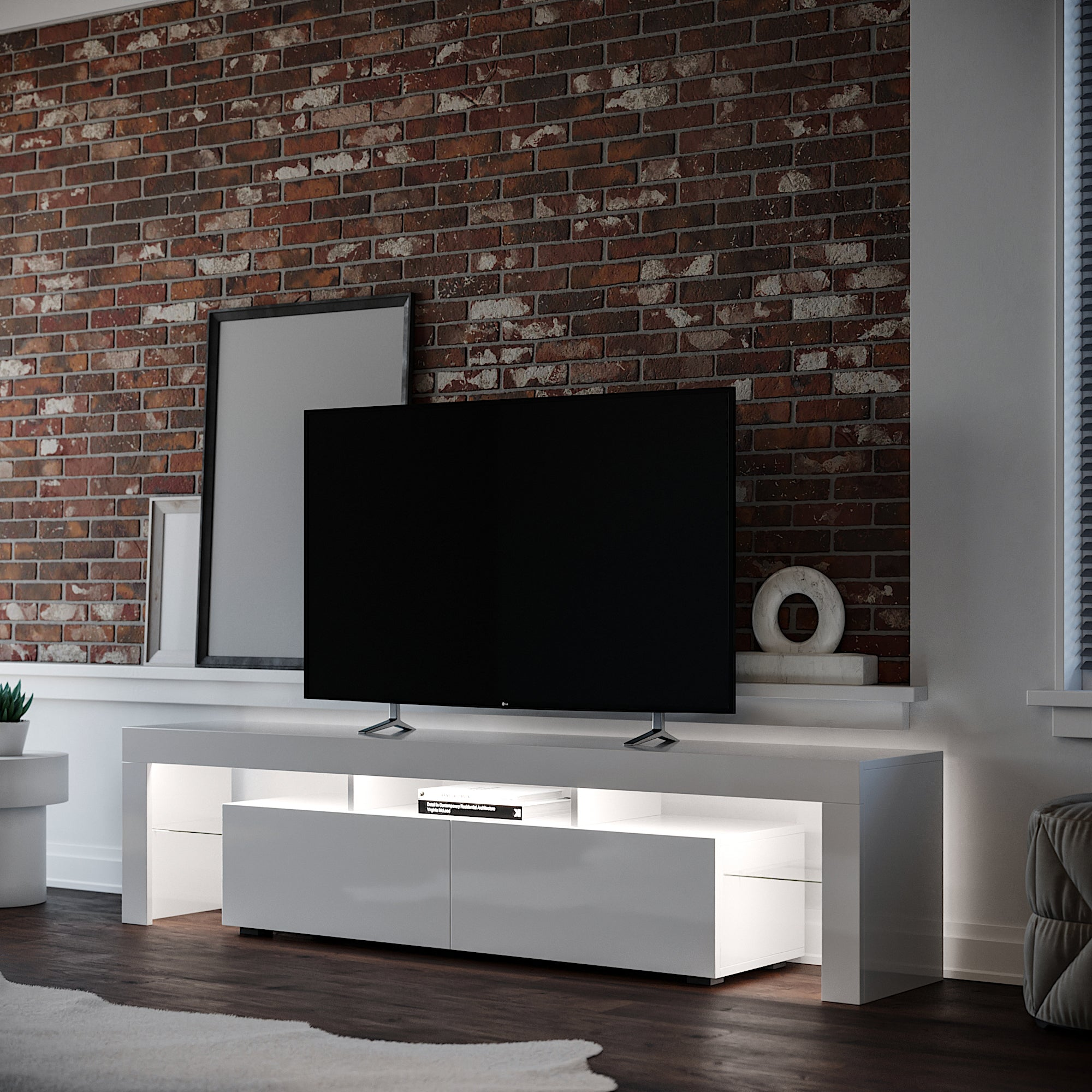 Copenhagen TV Cabinet with Cool white LED Lighting in living room