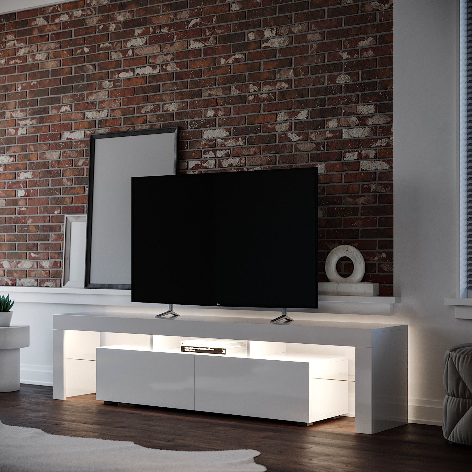 Copenhagen White TV Stand with Flat screen TV and warm white LED Lighting the media unit