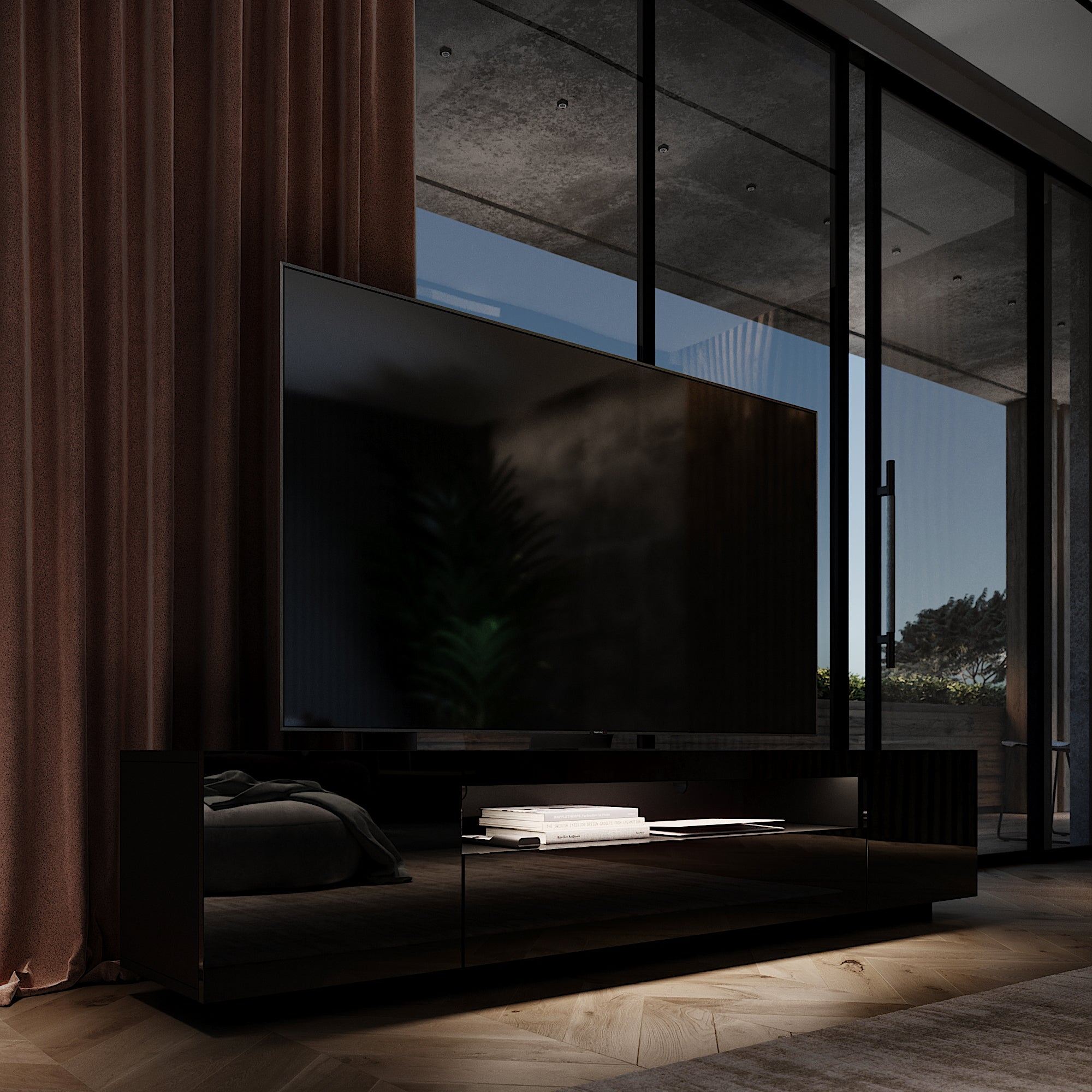 Black SAMSO TV media with Flat screen TV and warm white LED Lighting the TV Cabinet