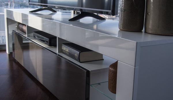 "COPENHAGEN TV STAND - WHITE/GREY FOR TVS UP TO 80"", WITH WHITE LED LIGHTING"
