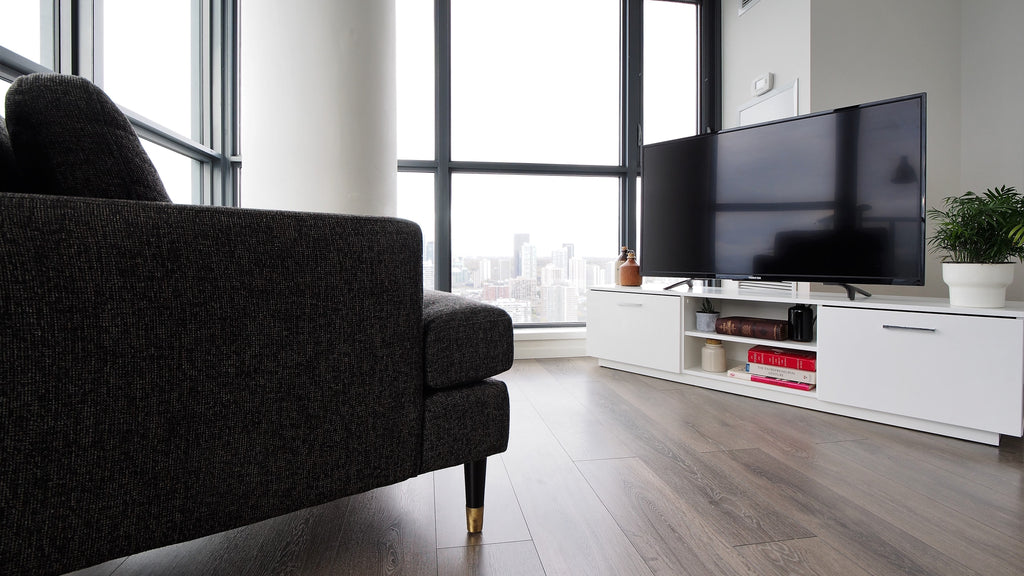 HD Flat Screen TV on TV Stand Roskilde in contemporary living room
