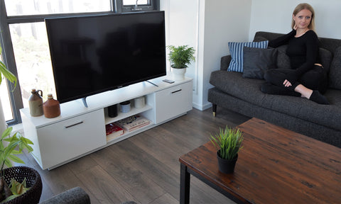 Classic contemporary Living Room with Roskilde TV cabinet and plants