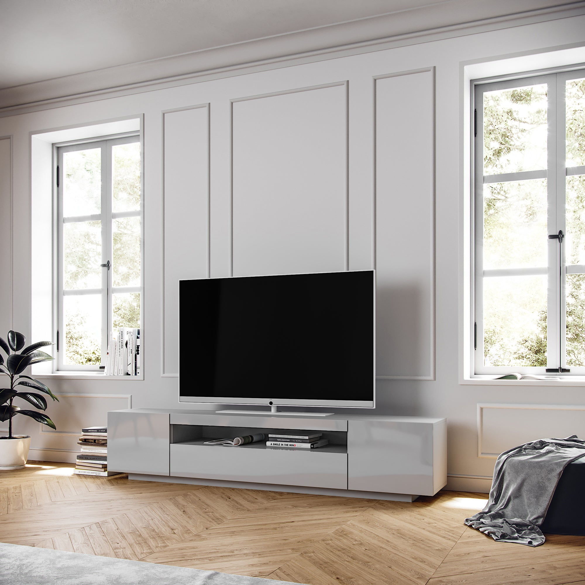 Modern European TV Cabinet, SAMSO Light Grey TV Cabinet