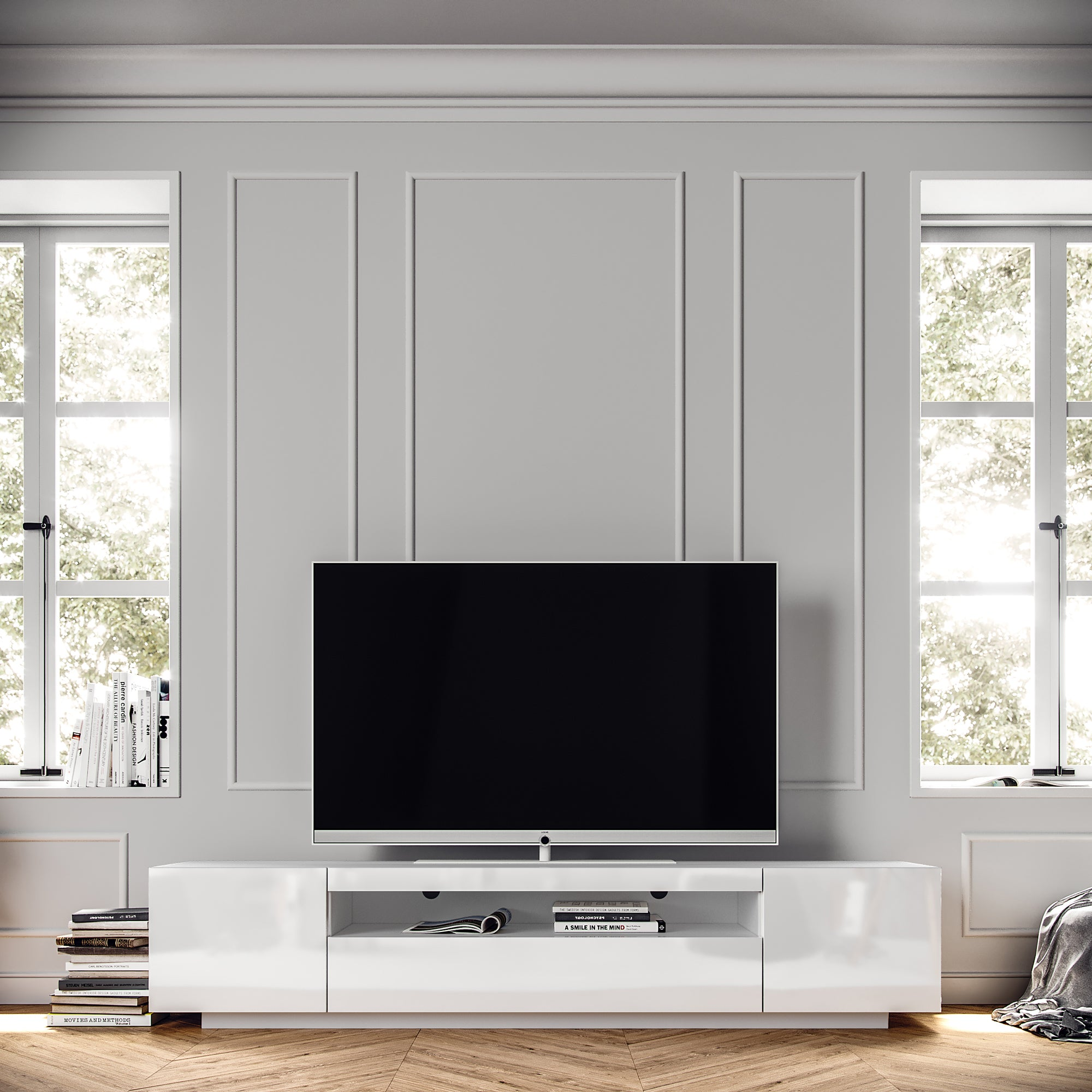 Modern European TV Cabinet, SAMSO White TV Cabinet