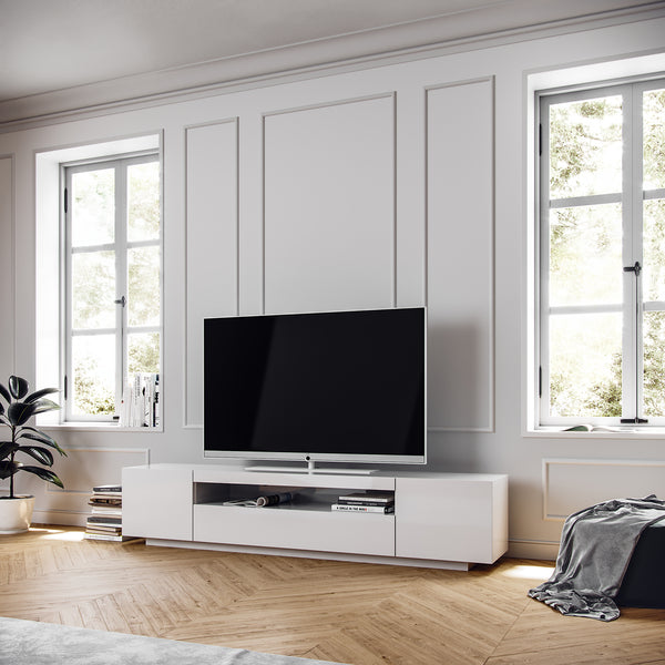 White TV Stand - White Modern SAMSO TV Cabinet in loft style apartment