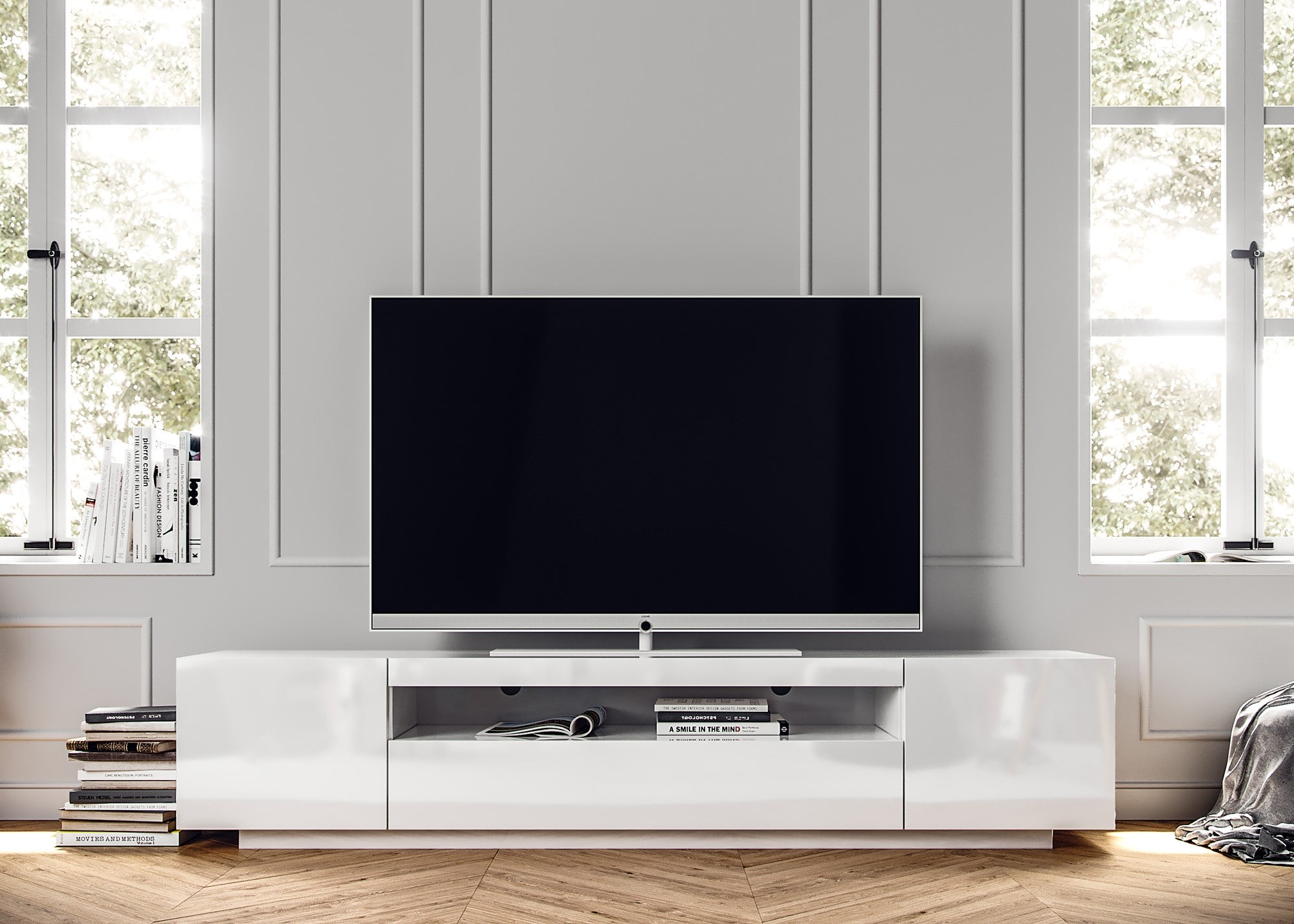 White SAMSO TV Cabinet, contemporary TV cabinet designs