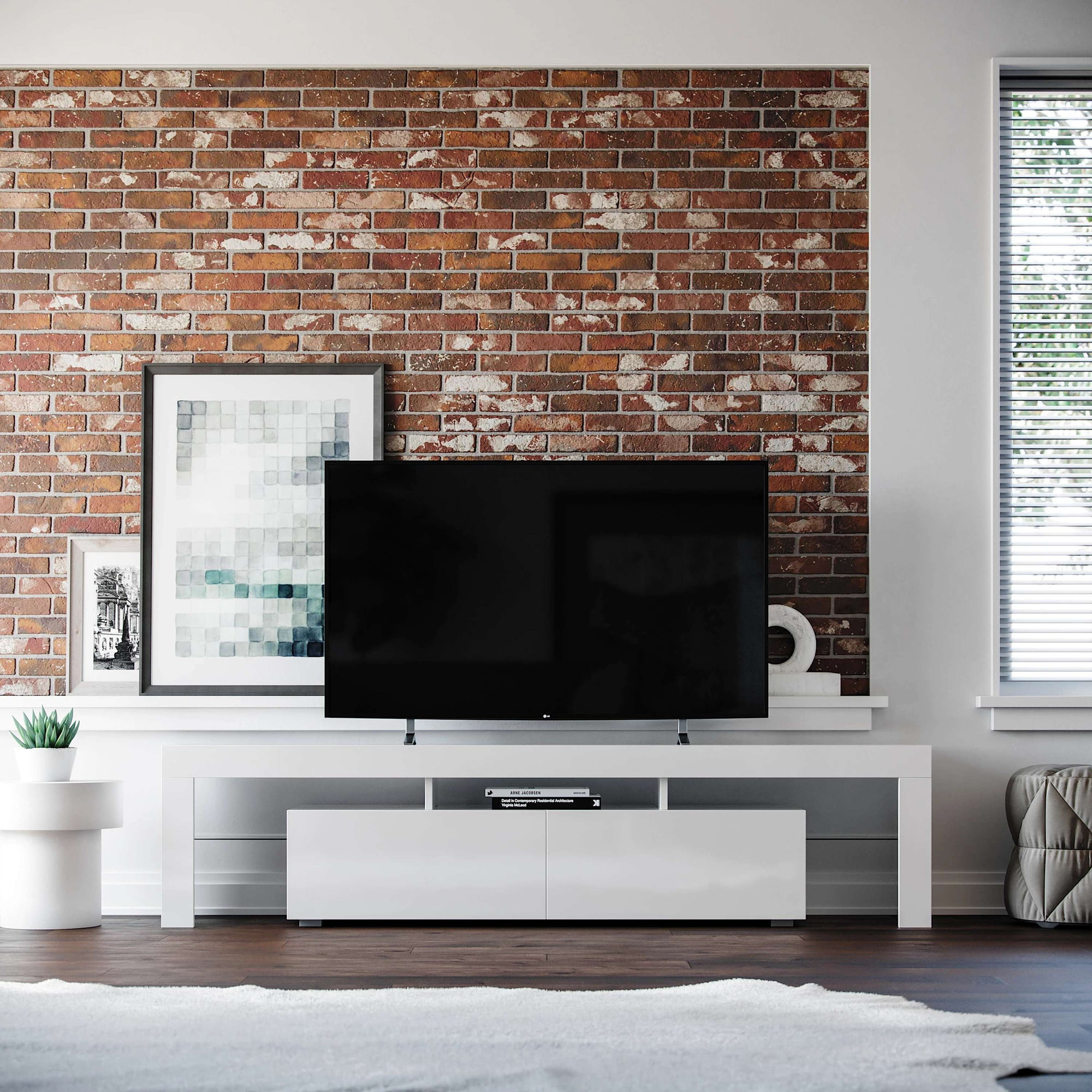 All White Copenhagen TV Stand All White Copenhagen TV Stand - Modern & Contemporary Design | Media Storage Cabinets | Media Console for Flat Screen TV's up to 80 inches | wide and low profile