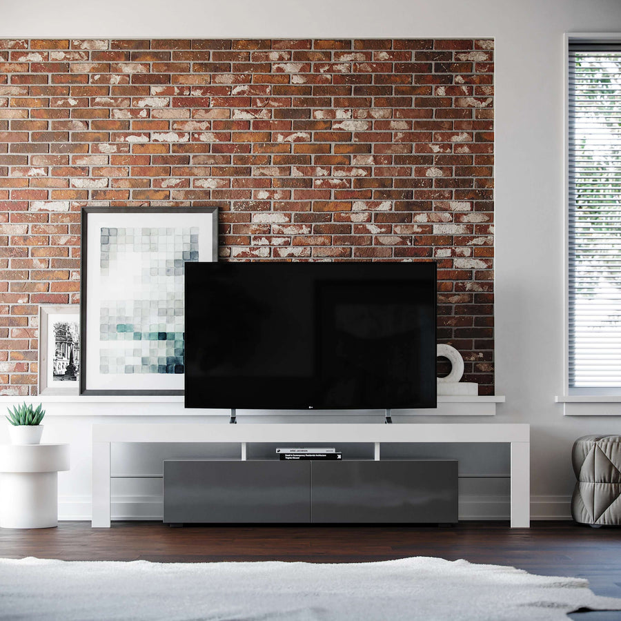 White & Gray Copenhagen TV Stand - Modern & Contemporary Design | Media Storage Cabinets | Media Console for Flat Screen TV's up to 80 inches | wide and low profile angle 1
