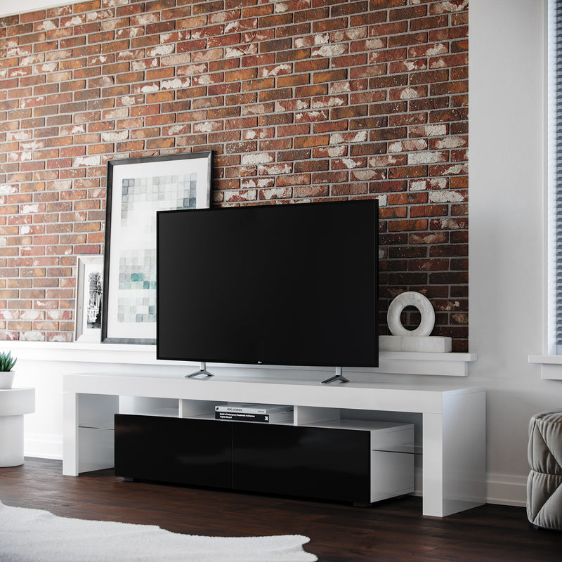 COPENHAGEN TV Stand - White/Black for TVs up to 80""