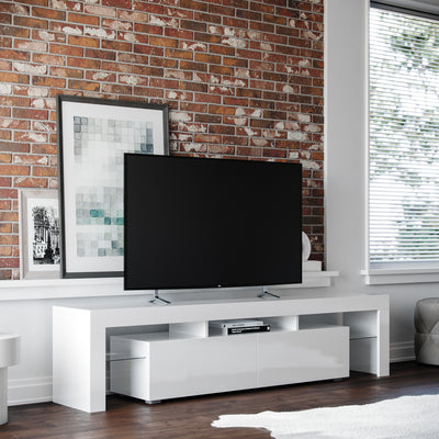 "All White Copenhagen TV Stand at 45 degree angle from left with 60"" Flat screen TV"