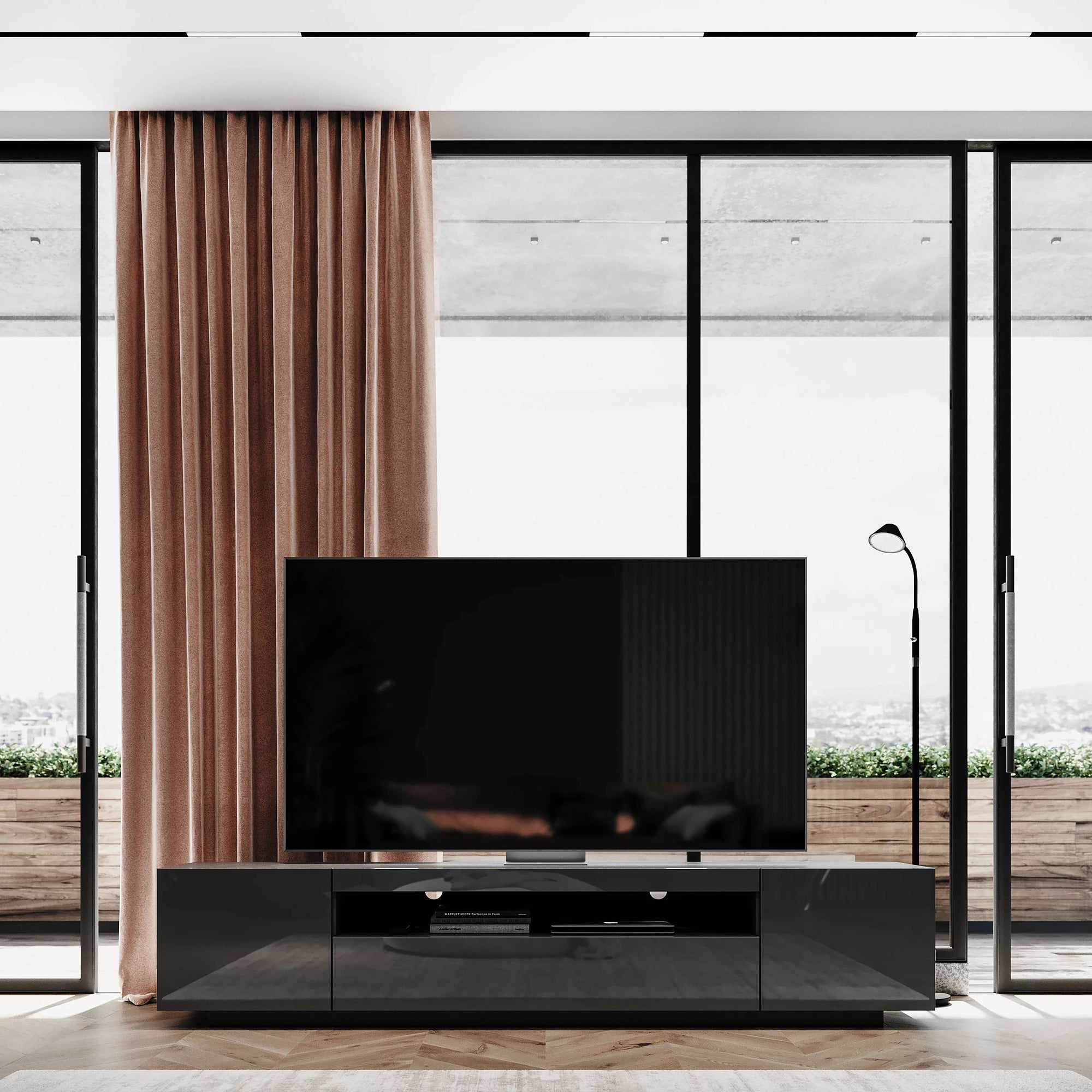 Gloss Gray Samso TV Cabinet lifestyle shot shown highlighting LED lights - Modern & Contemporary Style |