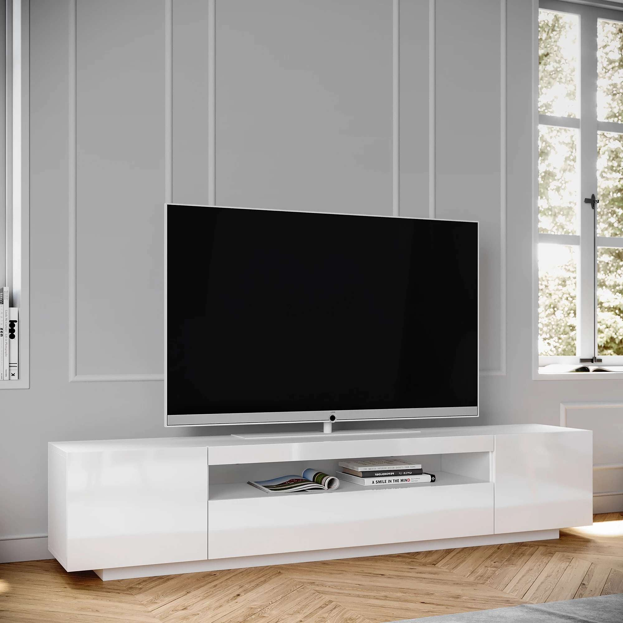 Samso Tv Stand White For Tvs Up To 75 Loft Design Company