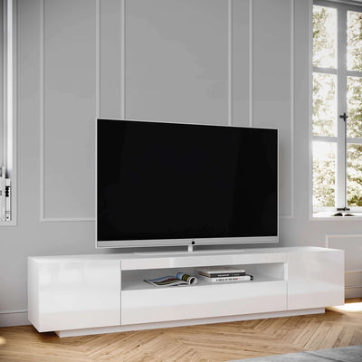 Contemporary White TV Cabinet, SAMSO Media Unit and Entertainment Console, Glossy Finish, Modern Nordic Scandinavian Design side angle