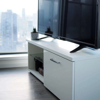Contemporary White TV Stand, BILLUND with Glossy Finish, In a Modern Nordic Style Scandinavian Design