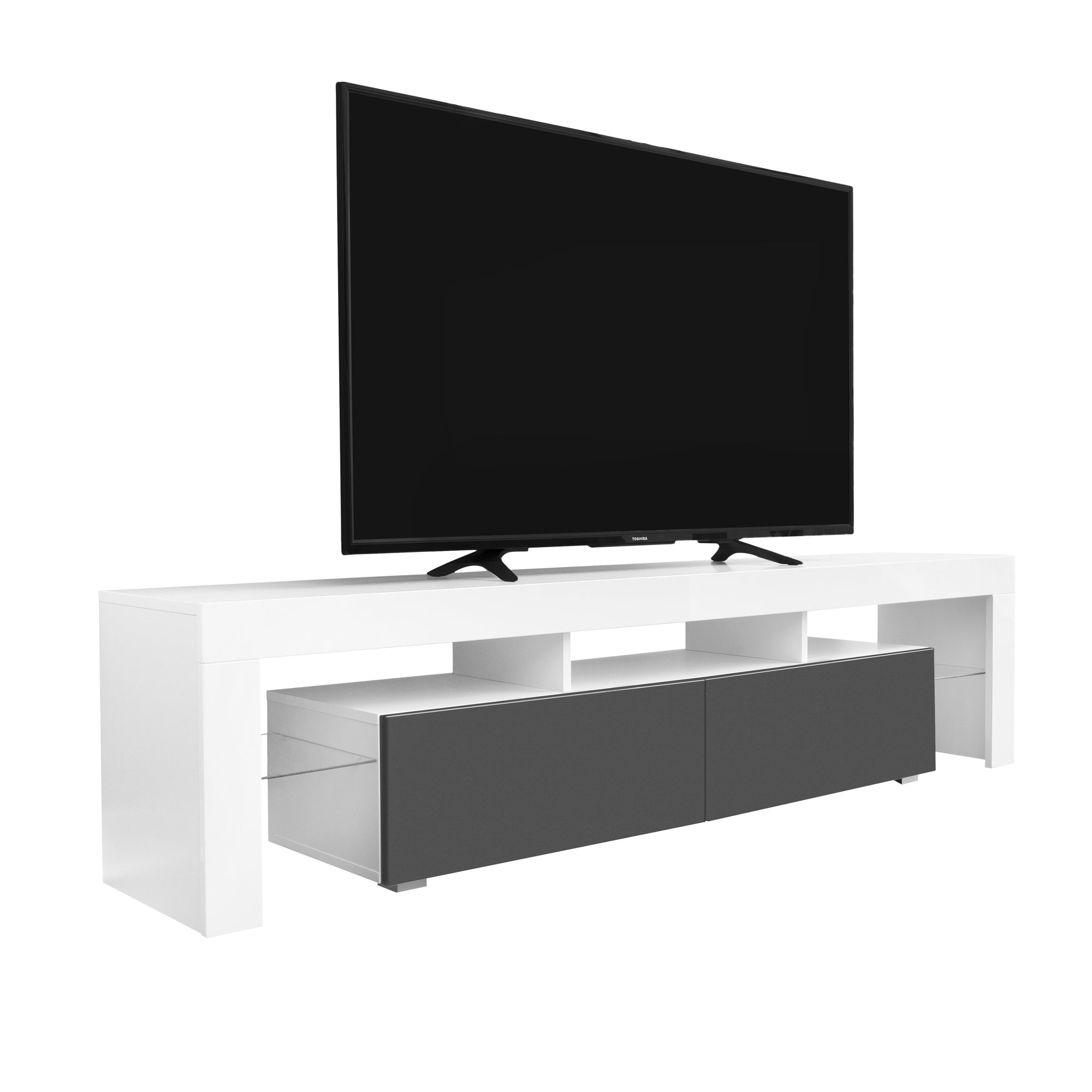 Copenhagen Tv Stand Whitegrey For Tvs Up To 80 With White Led