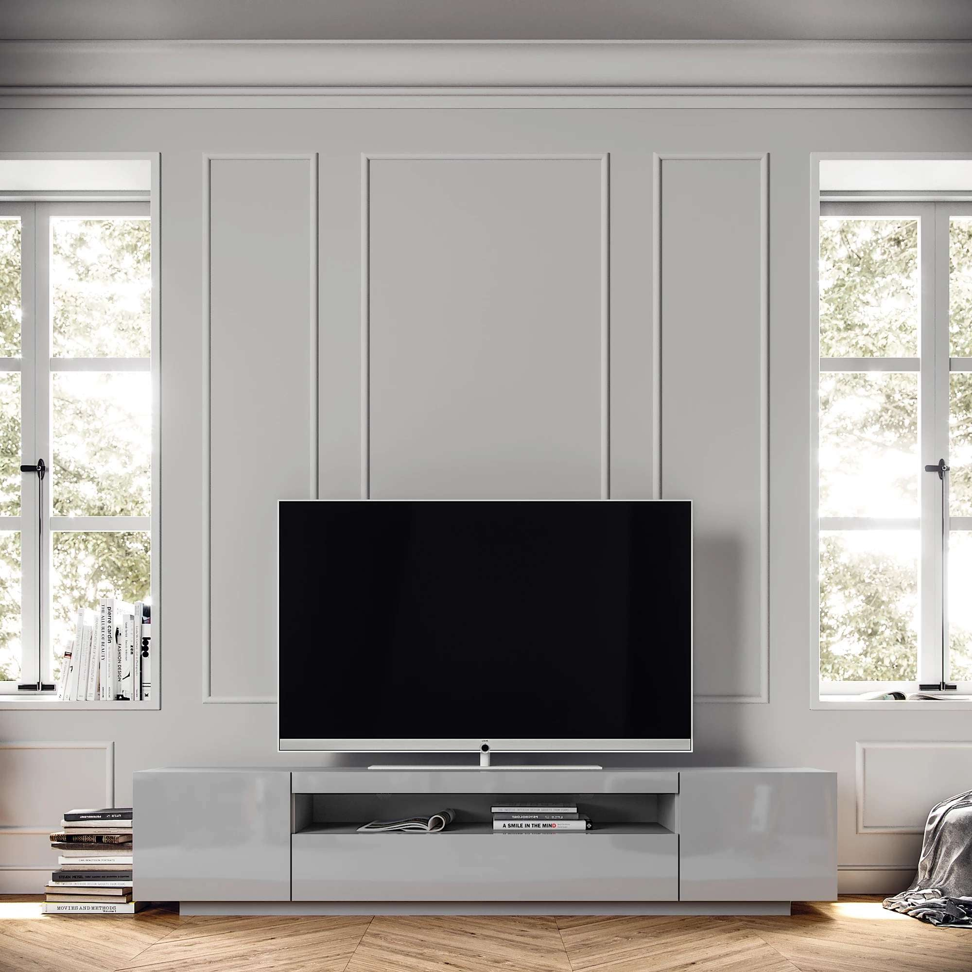 Gloss Light Grey Samso TV Cabinet - Modern & Contemporary Style | Central media console for TV Table with LED lighting