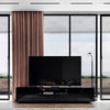Gloss Black Samso TV Cabinet closeup of central media console for TV's up to 90 inches - Modern & Contemporary TV Stand | Media console with plenty of media storage space | Wide and low profile for flat screen