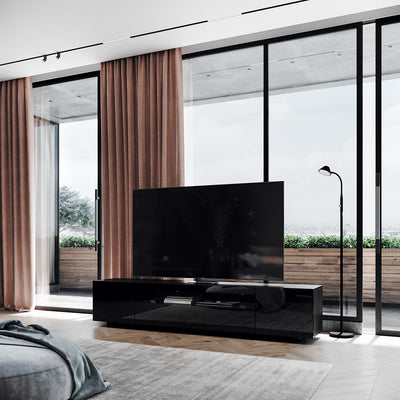 SAMSO TV Cabinet, European design and made, Modern TV Stand, gloss black, perspective shot
